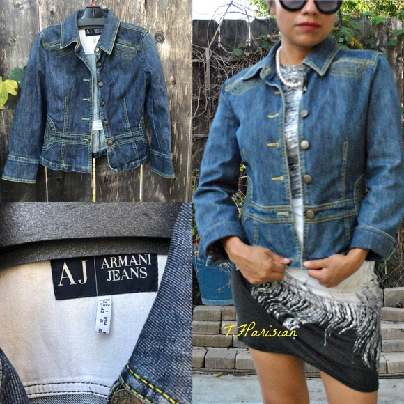 in stock arrives best authentic ARMANI Jeans Indigo Jeans Women's Jacket